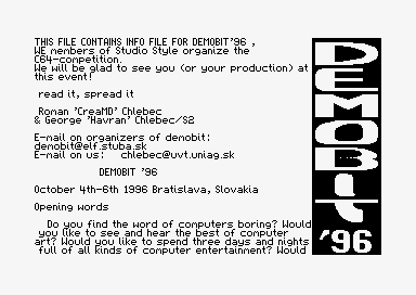 Demobit '96 Invitation